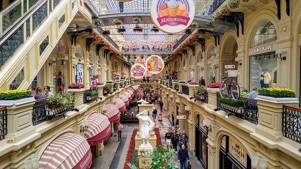 קניות במוסקבה מרכז GUM עם חנויות הראווה
